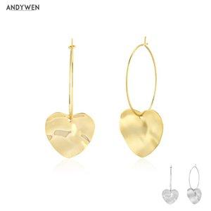 Andywen 100% 925 Sterling Silver Heart Hoult Hoop Piercing Pelending Love Women Fashion Slim Large Body Party Jewels