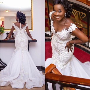 Luxury Crystals Mermaid Wedding Dresses with Capped Sleeves Lace Applique Beading Sexy Illusion Back Custom Made African Wedding Gowns