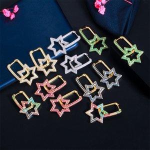 Shining Bling Full Colorful Zircon Hexagonal Dangle Drop Earrings Real Gold Plated Star Earring Jewelry No Fading 1274 B3