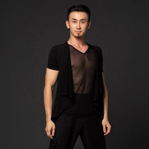 New Mens Dança Camisa Tops Competição Desempenho De Performance Ballroom Modern Salsa trajes Latim Mens Shirts Adullt Latin DancewearDQS1853