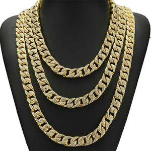 Whosale 16Inch 18Inch 20Inch 22Inch 24Inch 26Inch 28Inch 30Inch Iced Out Rhinestone Gold Silver Miami Cuban Men Hiphop Necklace 90 U2