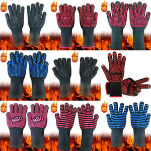 Hot BBQ Gloves Heat Resistant Kitchen Oven Mitts Professional Long Heat Resistant Cooking Gloves for Grilling,Barbeque MY-inf0539 107 S2