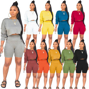 Plus size Women jogger suit solid color Tracksuit casual 2 piece sets summer clothing long sleeve t shirt+mini shorts sports Outfits 4582