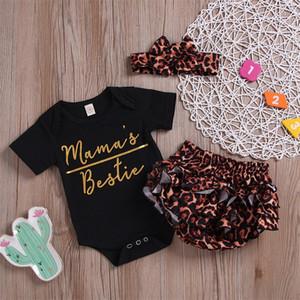 Baby Girls Conjuntos De Roupas Macacões Leopardo Headband Carta Imprimir Botão Recém-nascido Jumpsuit Infantil Playsuit Verão 1-3T 223 U2