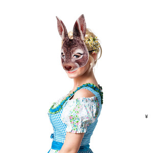 Bunny Mask Animal EVA Half Face Rabbit Ear Mask for Easter Halloween Party Mardi Gras Costume Accessory HWA3586