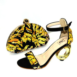 New Arrival High Quality Black+Gold African Designer Shoes And Bag Set To Match Italian Party Shoes With Matching Handbags Set