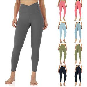 Women's Yoga Pants Cross High Waist Yoga Leggings With Inner Pocket Workout Gym Running Soild Color fitness Sport Tights Pants