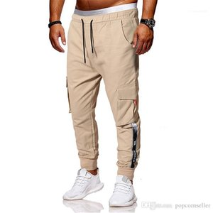Hip Pop Clothing Mens Fashion Cargo Pants European and American Mens Individual Ribbon Decoration Multi Pocket Fitness Trousers