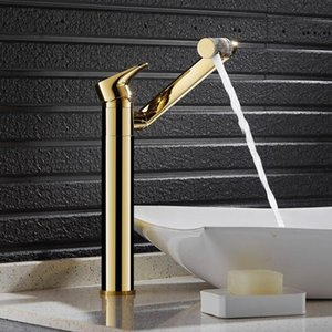 Deck Mounted Brushed Gold Waterfall Faucet Brass Bathroom Faucet Bathroom Basin Mixer Tap Hot and Cold Sink D-039