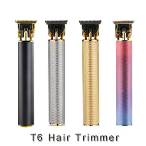 T6 T-shape Tooth Baldhead Electric Trimmer Carving Electric Trimmer USB Hair Cutting Machine White Aluminum Tube Hair Clipper