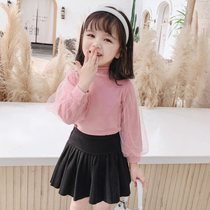 INS New Kids Girls T-Shirt Puff Lace Long Sleeve Cotton Quality Fashion Autumn Winter Baby Girl Clothes Girls Top 1-7 years
