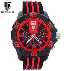 Tigershark Marke Herrenuhr Sportmode 6-polige wasserdichte Armbanduhr Automatisches Datum Gummi-Riemen männliche Uhr Q0310