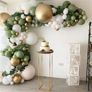 152Pcs Avocado Green Balloons Garland Arch Kit Retro Green Chorme Gold Latex Globos Birthday Valentine Wedding Party Decors 2021