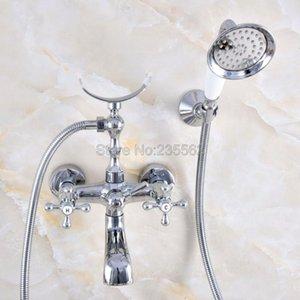 Torneiras de banheira de banho de bronze de cromo torneira de banheiro montada na parede com chuveiro de mão cabeça banho chuveiro FAUCE LNA716