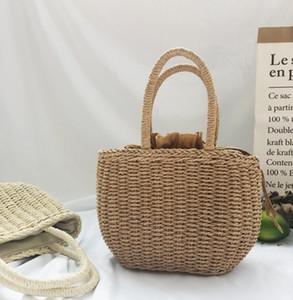 Children grass weaving bag kids straw hand made Shopping basket summer girls Easter princess bag children holiday handbag A5794