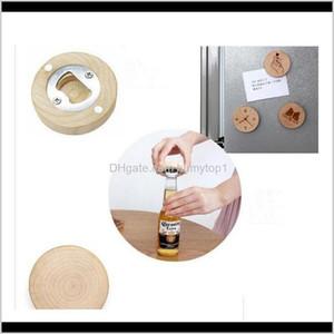 Blanco DIY Forma redonda de madera Cerveza Botella de cerveza Precieso Premio Frigorífico Imán Decoración Botella de cerveza Epacket 6bhxv Uovy4
