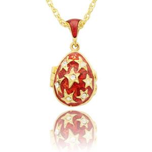 Avrupa Lüks Markaları için Uygun Kolye, El Yapımı Kırmızı Emaye Avrupa Faberge Yumurta Kolye Kolye, Noel Hediyeleri