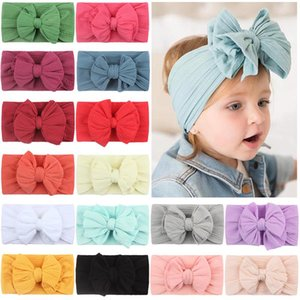 New Soft Nylon Jacquard Hair Accessories Children's Hairband Baby Super Stretch Bow Headbands Girls Big Bows Solid Hair Bands