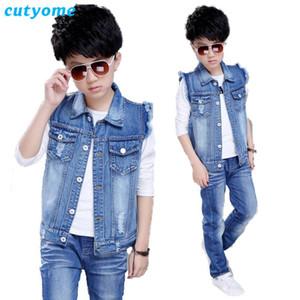 Baby Boys Denim Chaleco Coat Cutyome Primavera Otoño Niños Niños Jeans Sólidos WasitCoats Adolescentes Boys Outerwear Ropa para niños 9