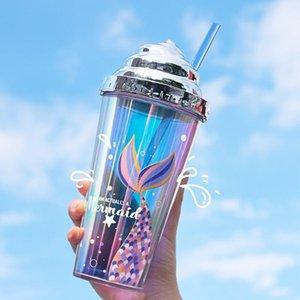 Coupe d'eau de paille d'eau galvotée Creative paille de la miroir de la miroir en plastique de la tasse en plastique à double couche de la tasse de gobelet réutilisable avec des motifs de sirène 420 ml DWA3623