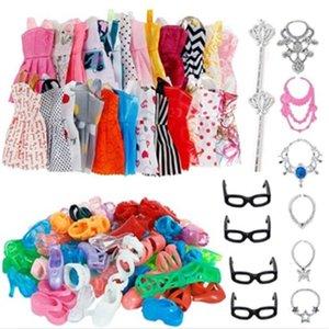 30 Item Set Doll Accessories = 10x Mix Fashion Cute Dress + 4x Glasses+ 6x Necklaces + 10x Shoes Dress Clothes For Barbie Doll 2015 Y2