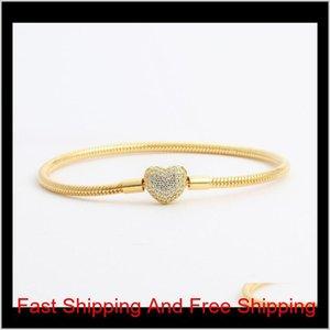 Pandora Jaune Mariage Plated CZ pour Bracelets Coeur Femmes Box Set Diamond Gold 925 Bijoux en chaîne Bracelet en argent pour serpent original 1 Z6oqt