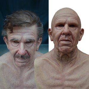 Парик старый человек маска Хэллоуин маска полный латекс маска лица страшный головной убор ужас для Хэллоуина игры косплей выпускной реквизит 2021 новый