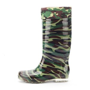 Man Waterproof Boots Camouflage Hot Autumn Winter at Height of Man's Knee-boots Pvc High Top Velvet Shoes in the Open Air Anti-slip 0ba2