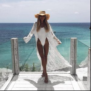 Women Romantic Chiffon Kimono Summer Lace Beach Bikini Cover Ups Holiday Cardigan Wrap Long Blouse Drop Shipping