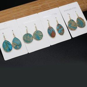 Dangle & Chandelier 2021 Style Fashion Natural Stone Earrings Irregular Blue Ocean Ore Charms For Elegant Women Love Romantic Gift