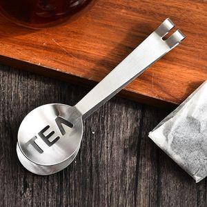 Más nuevo reutilizable Bolsa de té de acero inoxidable Pinzas Bolsa de té SPEEZER TITULAR TITULAR TITULAR Agarre la cuchara de metal Mini Sugar Clip Tea Leaf Strantedero DHA3773