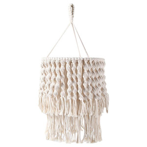 Hand Woven Macrame Tapestry Bohemian Tassel Lampshade Wall Hanging Bedroom & Bathroom Lamp Cover