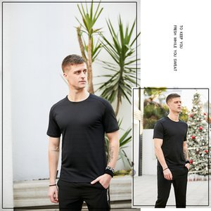 Men's Cationic Quick Drying Clothes round Neck T-shirt Short Sleeve Workout Exercise Summer Sweat-Wicking Reflective Night Running Undershirt