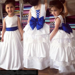 2021 Simple Flower Girl Dresses for Wedding with Bow A Line Lace Up Pageant Dresses For Teens Kids Formal Gown