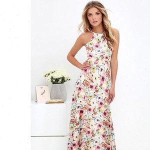Seksi Kadınlar Boho Elbise Halter Boyun Çiçek Baskı Kolsuz Yaz Elbise 2020 Tatil Uzun Kayma Plaj Elbiseler Vestidos