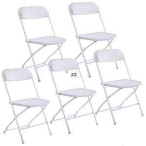 New Plastic Folding Chairs Wedding Party Event Chair Commercial White SEAWAY HWF10465
