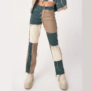022103 Patchwork Straight Women's Jeans Baggy Vintage High Waist Boyfriends Mom y2k Denim Distressed Streetwear Fashion Female Iamhotty