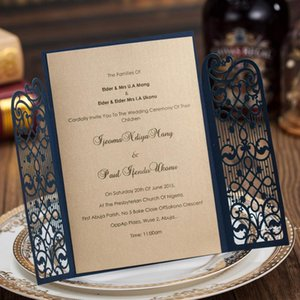 Wholesale-Laser Cut Wedding Invitation Cards Navy Blue Party Invitations for Marriage Bridal Shower Baby Shower Birthday Card FWD10257