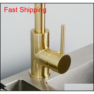Black & Brushed Gold Brass Kitchen Faucet Mixer Dual Sink Rotation Kitchen Cold And Hot qylGgU dh_seller2010