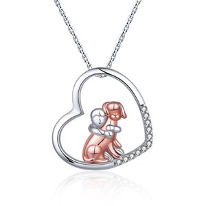925 Sterling Silver Dog Necklace Lovely Animal Heart Pendant Necklace Fashion Christmas Mother Day Jewelry For Women,Pet Lover C0305
