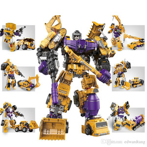 6 IN One Transformable Truck& Robot Model Toy, Excavator, Crane, Tractor Shovel, Mixer Truck, Bolldozer, Christmas Kid Birthday Boy Gift,2-1