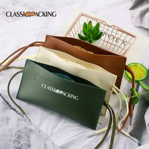 Solid color fashion double layer retractable soft waterproof portable PU leather glasses storage bag
