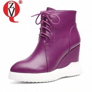 Zvq cuero cuña botines de tobillo moda mujer otoño invierno botines púrpura negro genuino vaca cuero 8 cm tacones altos zapatos de mujer E1CB #