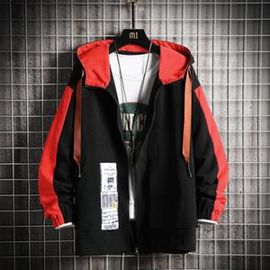 New Hip Hop Mens Hooded 2021 Casual Vintage Color Block Loose Track Hoodie Jacket Coats Streetwear Windbreaker Y8a8