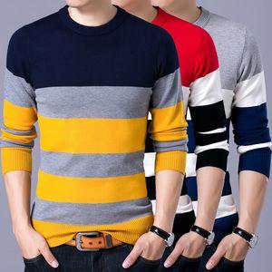 2021 YDTTOM PULLOVER Homme Nouveau Mode Rouge Noir Sweater Spring Spring Automne O-Cou Hommes Pulls de laine Slimfit Shirt B68Q