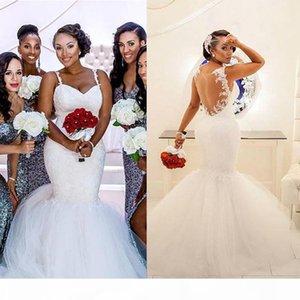 2021 Lace Applique Mermaid Wedding Dresses Sexy Illusion Back Sweep Train Spaghetti Straps Custom Made Beach Wedding Gown vestido de novia