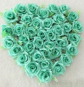 40*40cm Tiffany blue Heart Shaped Rose Hanging Wreath Flowers Garland for Home Door Wall Decor Wedding Car Decoration Flowers