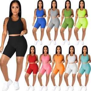 10 Farben Heißer Verkauf Neue Designer Damen Sommer Lässige Trainingsanzug Kurz 2 Zwei Teile Outfits Sleeveless Bubble Yoga Shorts Sportswear 2021