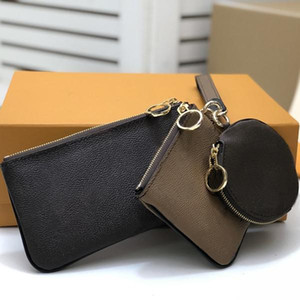 3 pieces Set Fashion Key bag Coin bag keychain Wholesale leather wallet for short wallet Card holder women purse classic zipper pocket 68756