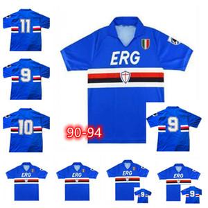 1989 1990 Qualidade Superior Camisa de Futebol de Sampdoria 90 91 92 UC Sampdoria Retro Classic Mancini Villaricerezzo Attirio Lombardo Camiseta